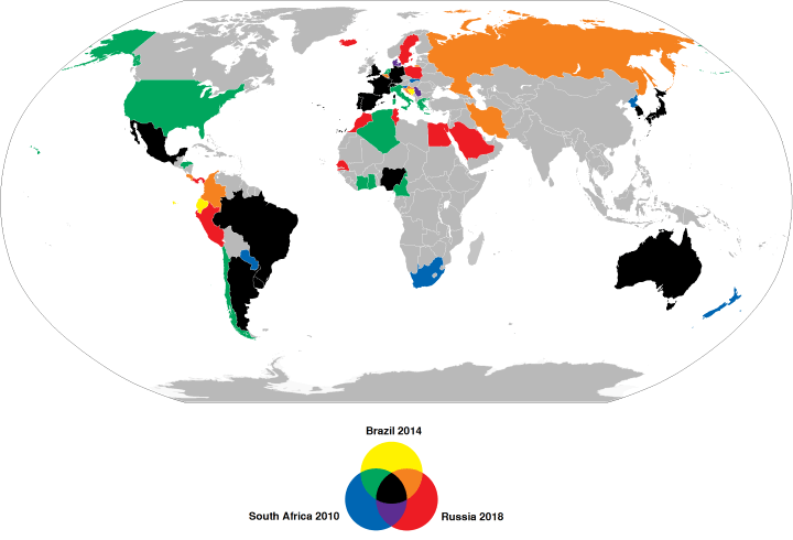 Countries qualified for the 2010, 2014 and 2018 FIFA World Cups